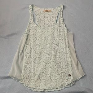 Hollister mint green floral lace & sheer tank top